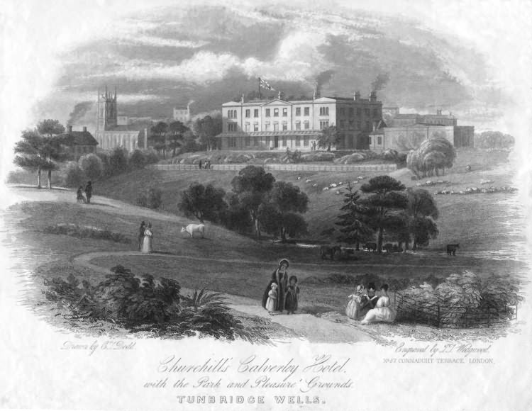Churchills Calverley Hotel with the Park and Pleasure Gardens - c 1875