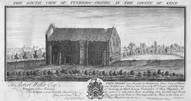 South View of Tonbridge Priory - 1735