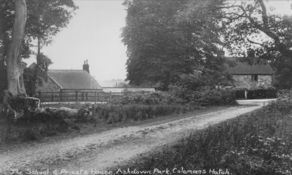 The School and Priests House, Colemans Hatch - c 1950