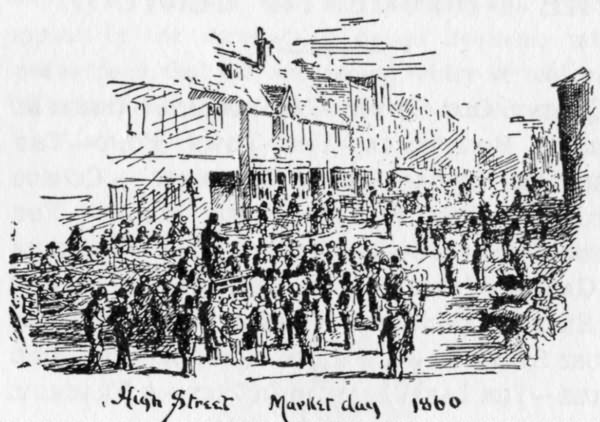 Market day in 1860, High Street - 1900