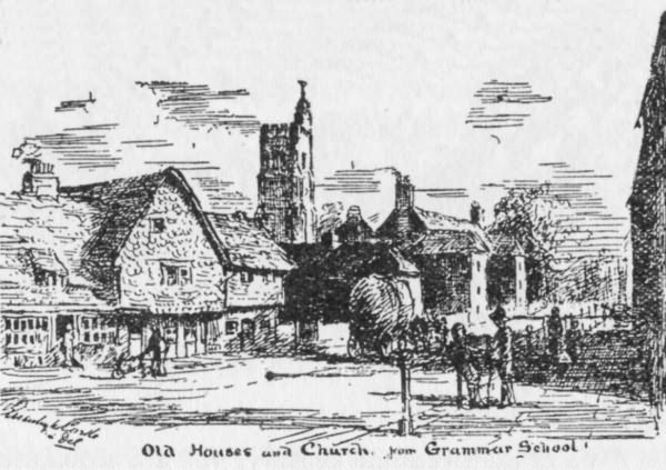 Old Houses and Church, from Grammar School - 1900