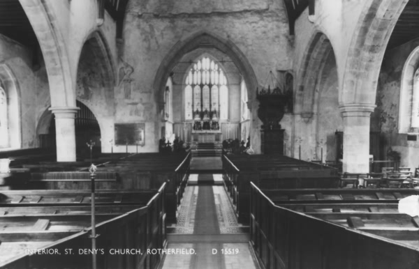 Interior, St Denys Church - c 1920