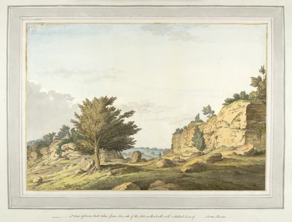South View of Penns Rock taken from the side of the Hill on the South with a distant View of Farm Houses - 1785