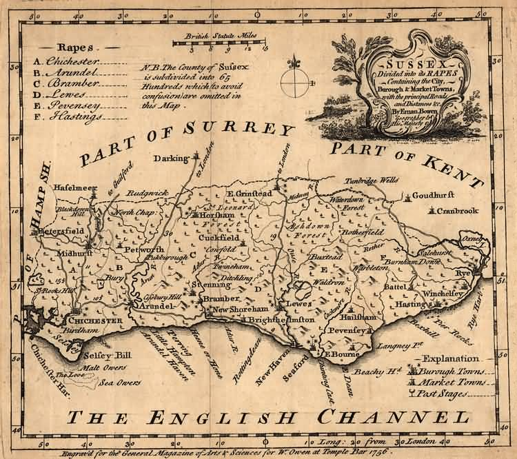 Sussex by Emanuel Bowen - 1756