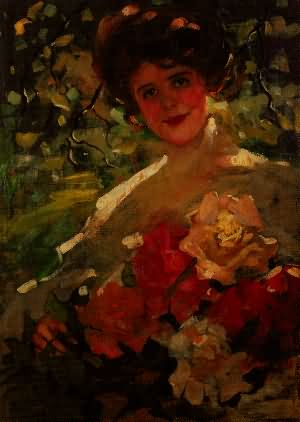 Girl with a Bouquet of Flowers - 1906