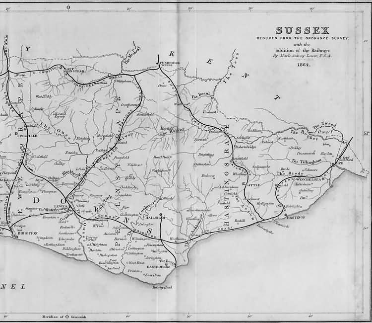 East Sussex with the addition of the Railways by Mark Antony Lower - 1864