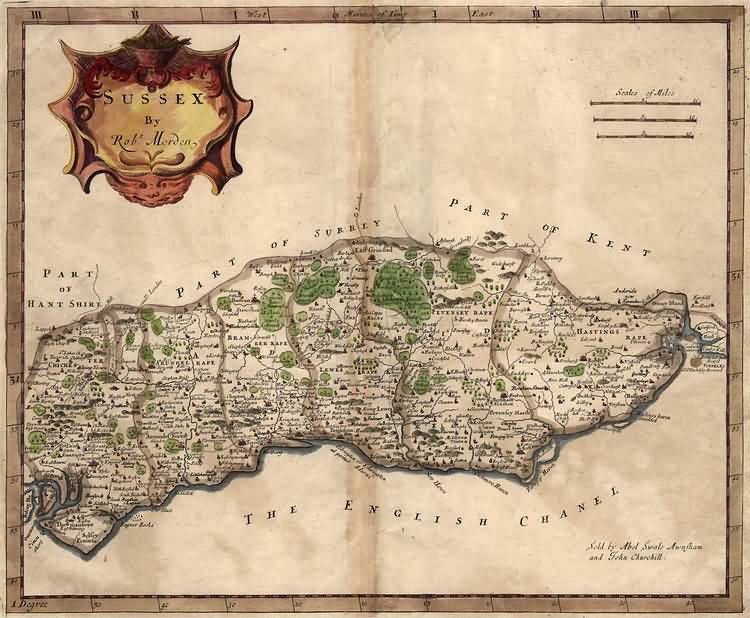 Sussex by Robert Morden - 1695