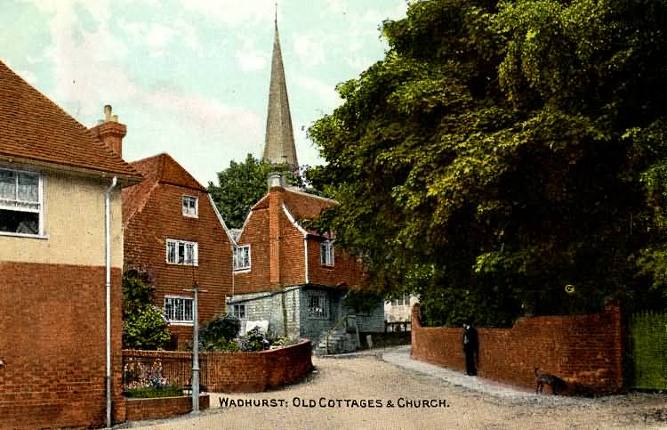 Old Cottages & Church - 1910